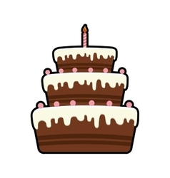 Cake candle party cream bakery birthday icon vector