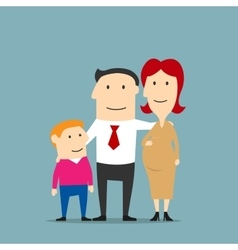 Smiling pregnant woman with husband and son vector