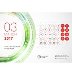 Desk Calendar for 2017 Year March Week Starts vector image