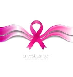 Breast cancer awareness month smooth silk waves vector