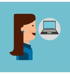 laptop computer character girl graphic vector image