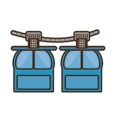 Two rope way cabine gondola vacation travel vector
