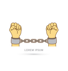 Hands with handcuffs vector