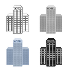 Hotel building icon in cartoon style isolated on vector