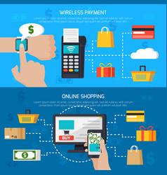 Wireless payment and online shopping banners vector
