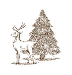 Christmas deer and tree engraving style vintage vector