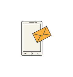 Mobile mail line icon sms sign message vector