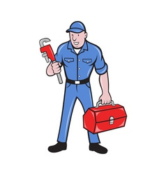 Plumber repairman holding monkey wrench vector