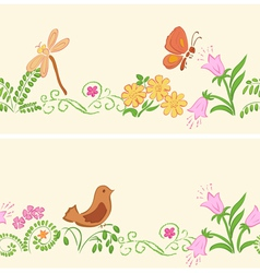 Seamless ornaments with flora and fauna vector