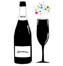 Champagne with glass vector