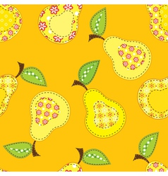 Patchwork seamless pattern with stylized pears vector