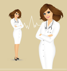 Female doctor with arms folded vector