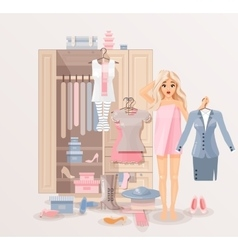 Girl with clothes closet vector image