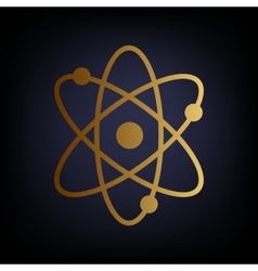 Atom sign golden style icon vector