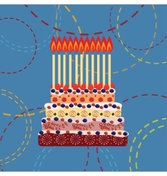 Birthday cake with eleven candles eleven years vector