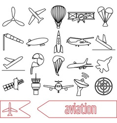 aviation big set of outline simple icons eps10 vector image vector image