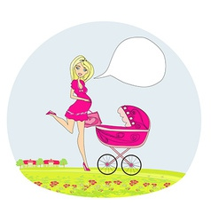 beautiful pregnant woman pushing a stroller vector image