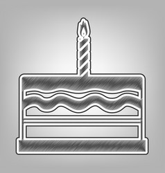Birthday cake sign pencil sketch vector