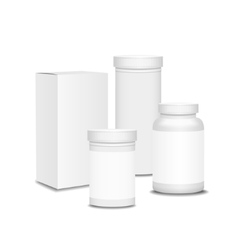Blank set of plastic packaging bottles with box vector image