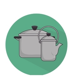 camping pots equipment icon vector image