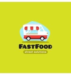 cartoon fast food truck logo vector image vector image