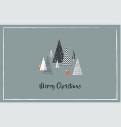 Christmas greeting card with winter forest and vector