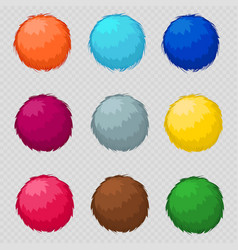 Colorful fluffy pompom fur balls vector