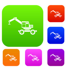 Crane truck set color collection vector