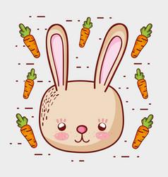 Cute bunny with carrots doodle cartoons vector