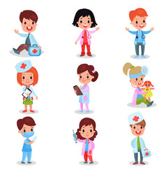 cute little kids playing doctor set boys and vector image vector image