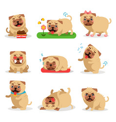 Cute pug dog activities during day set dog daily vector