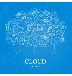 Doodle social cloud vector