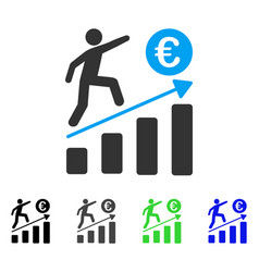 Euro business growth flat icon vector