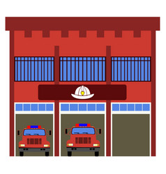 front view of a fire station vector image