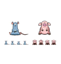 Happy cartoon pig and mouse set vector image