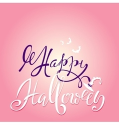 Happy halloween text lettering with pink vector