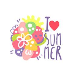 i love summer logo template original design vector image vector image