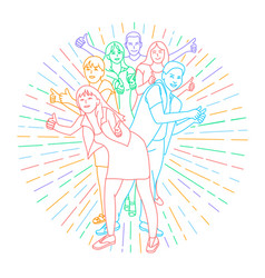 icon of happy young people vector image vector image