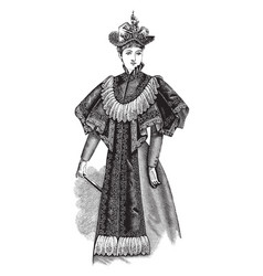 Ladys plaited cape vintage engraving vector