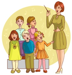 Music teacher singing with children chorus vector image vector image