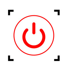On off switch sign red icon inside black vector