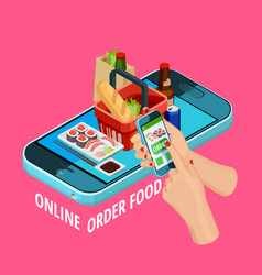 Online food order isometric ecommerce poster vector