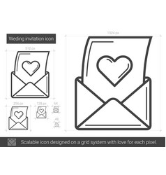 Open love letter line icon vector