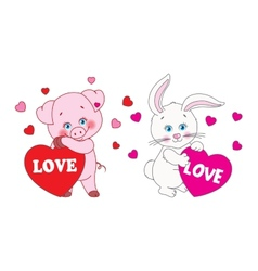 Pig and rabbit holding a heart characters vector image