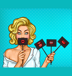 Pop art blond girl covering her mouth with black vector