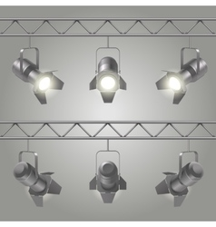 Realistic spotlights set vector