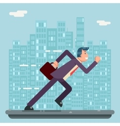 Running Businessman Character Urban Landscape City vector image vector image