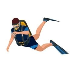 Scuba diver diving man front view scuba diving vector