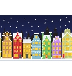 Seamless background with winter town vector