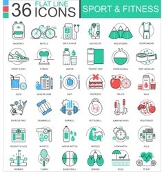 Sport and fitness modern color flat line vector